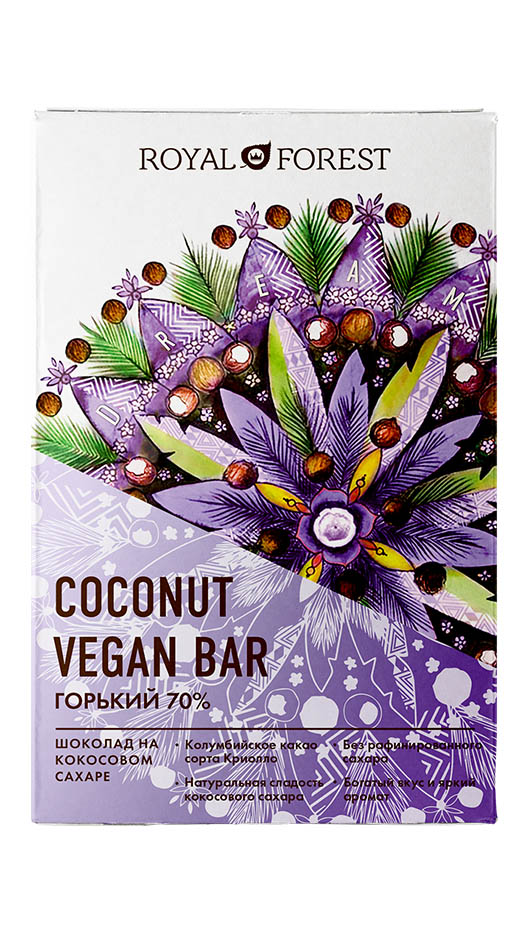 Веганский горький шоколад Royal Forest (70%) Vegan Coconut Bar