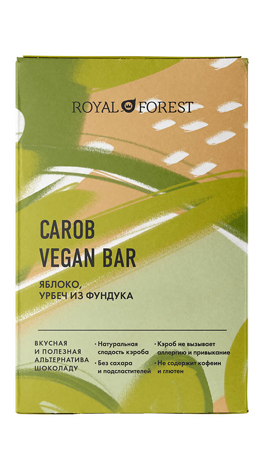Шоколад из кэроба Royal Forest (Яблоко, урбеч из фундука), 50г фото